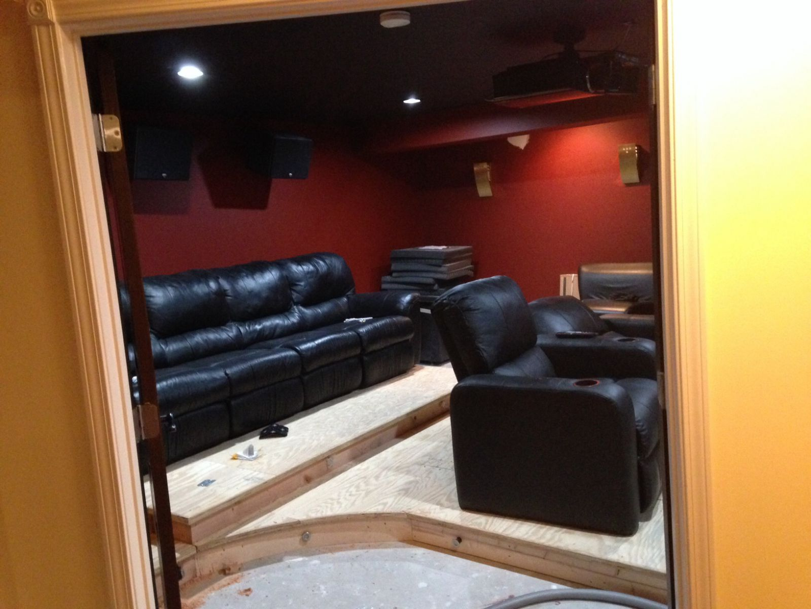 Custom Seat Platform Risers With Berkline Home Theater Seats And Sectional