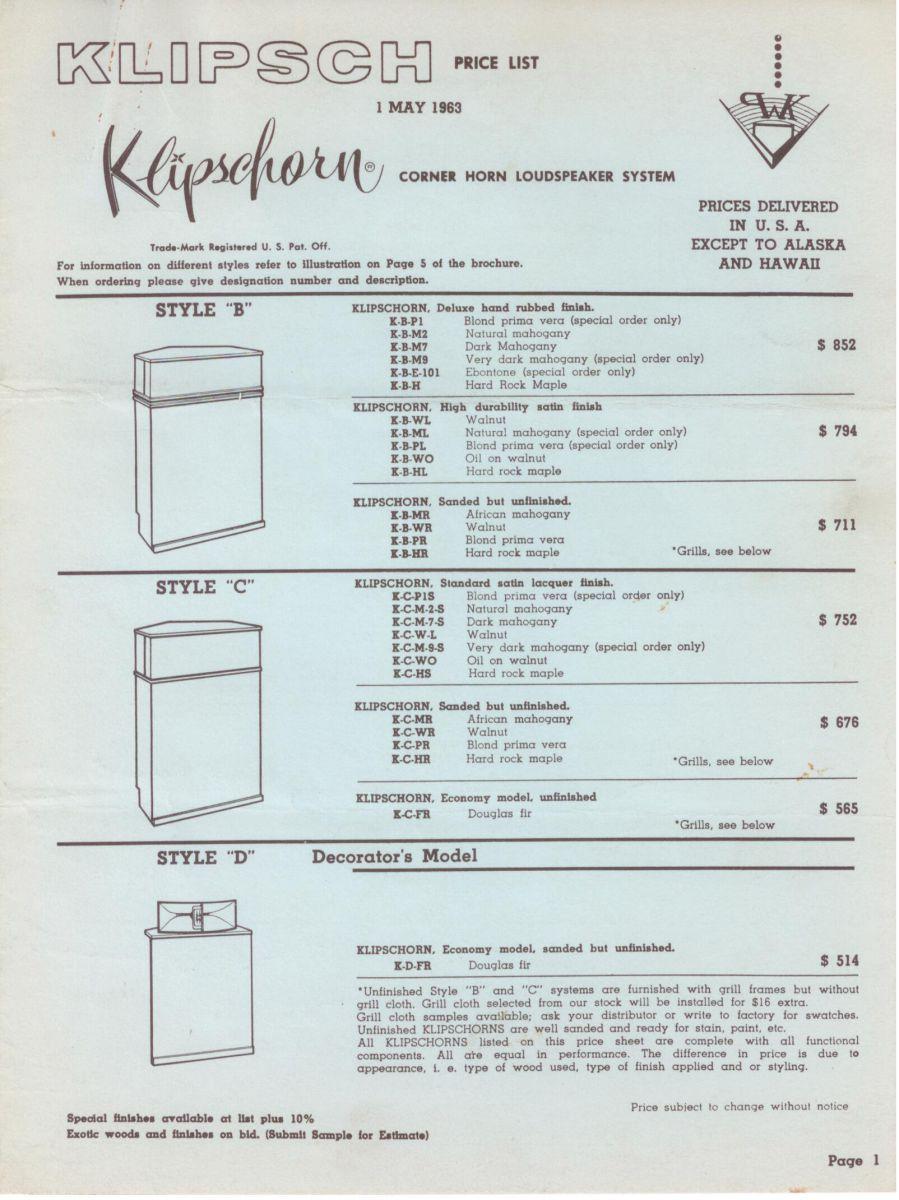 Klipsch 1963 Literature