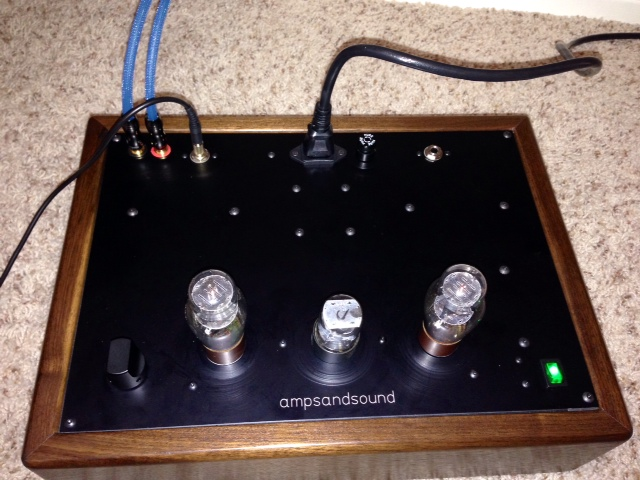 ampsandsound Headphone tube amp 1626/12SL7/1626 SET, Zero-Feedback, DHT - Top-plate