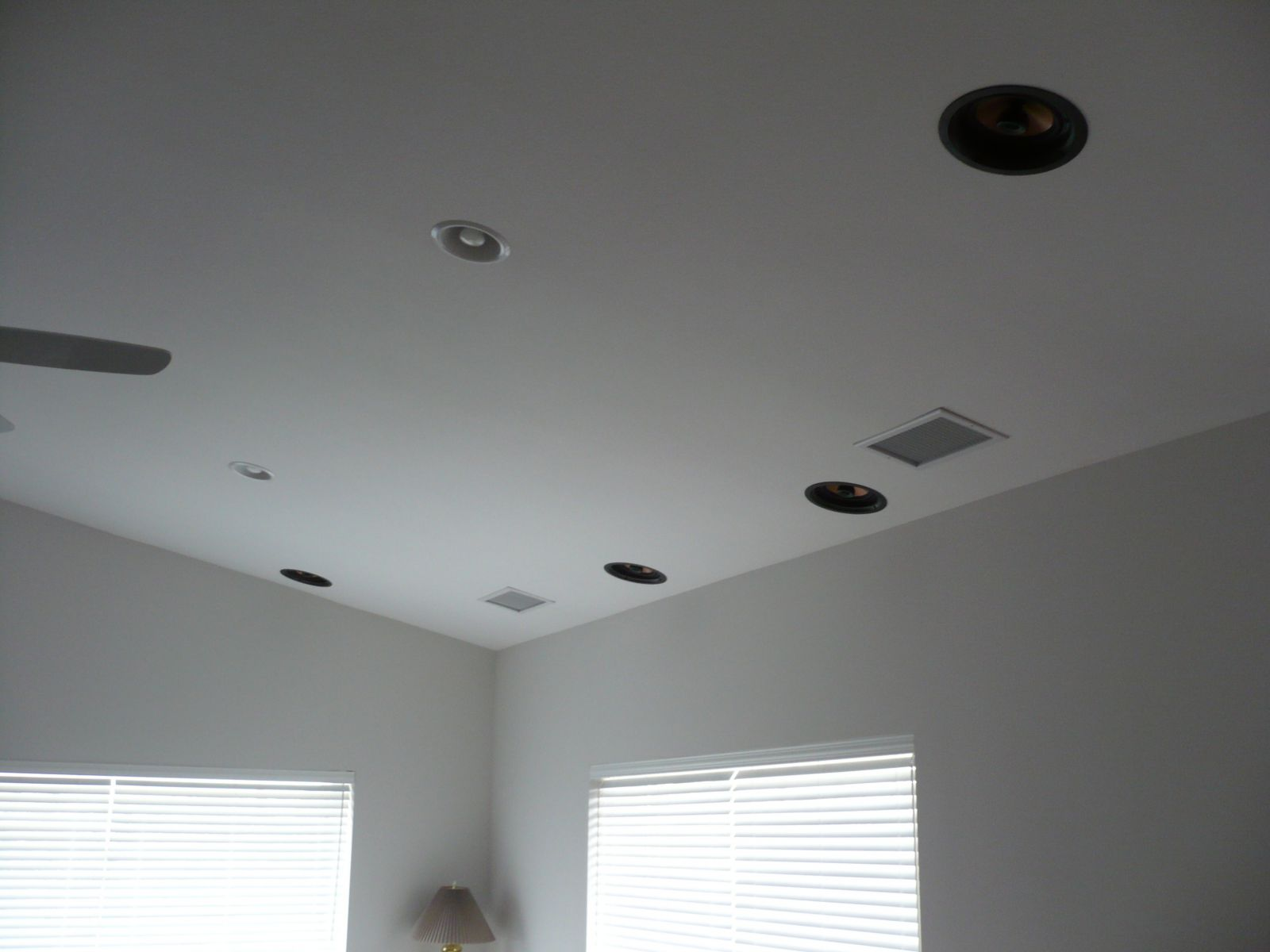 In Ceiling speaks doing side and rear surround duty