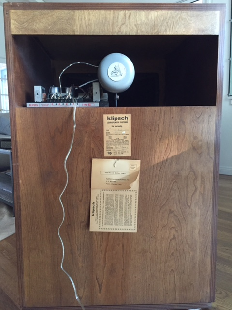 vintage 1978 klipsch la scala speakers near perfect. Black Bedroom Furniture Sets. Home Design Ideas