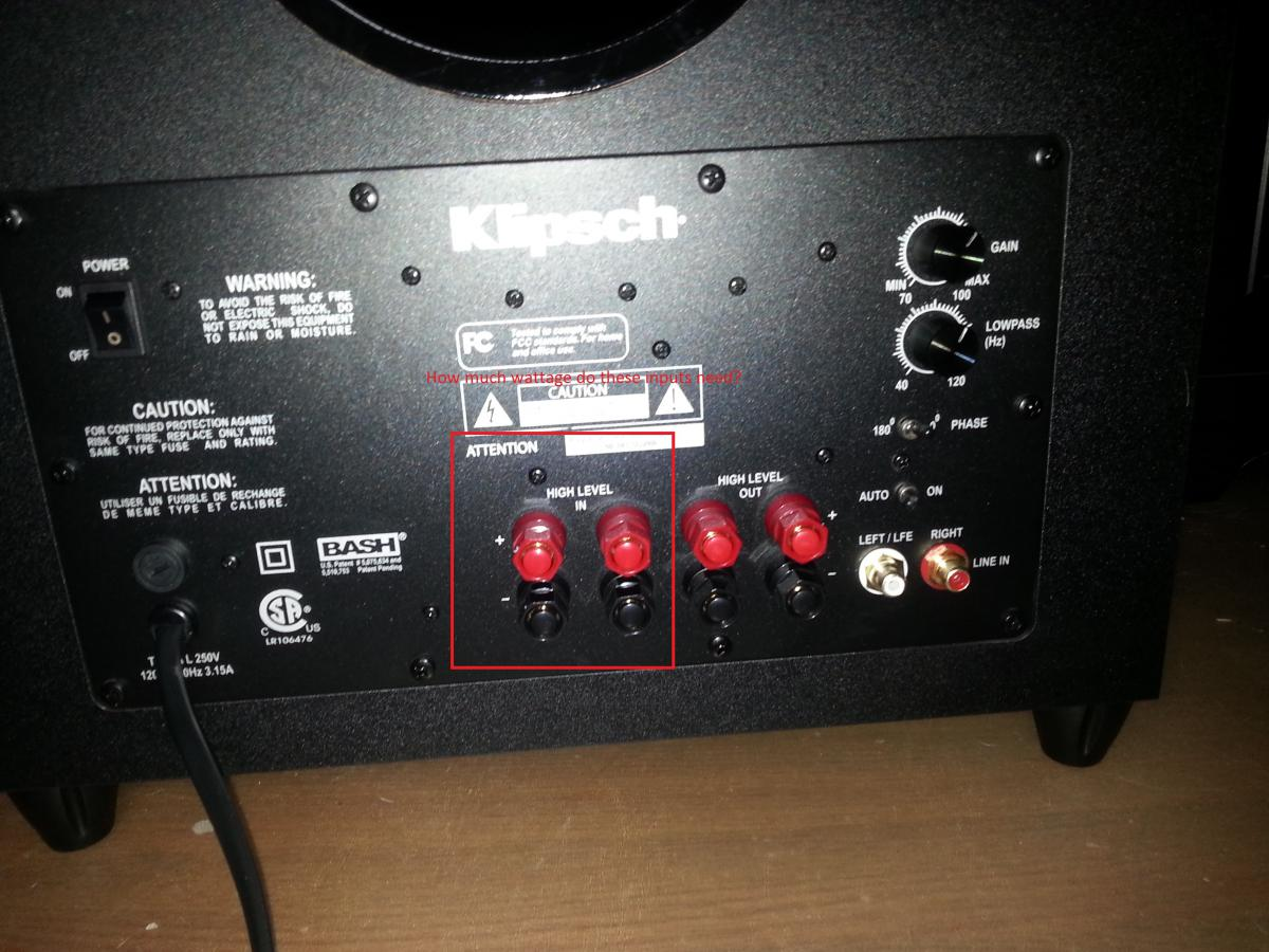 "Help understanding ""High level inputs"" - Subwoofers - The"