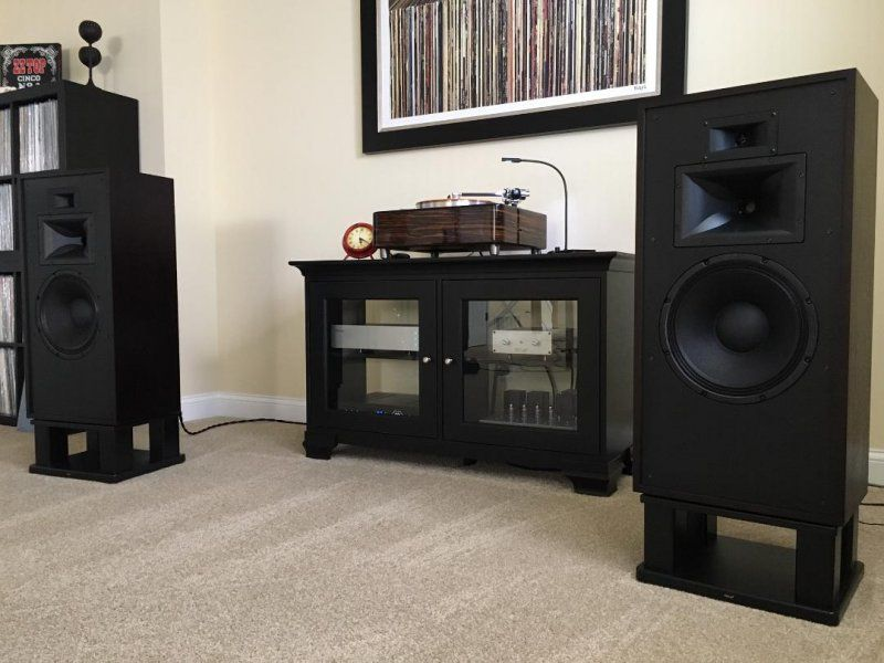 Klipsch Forte 3 on Skylan Stands.JPG