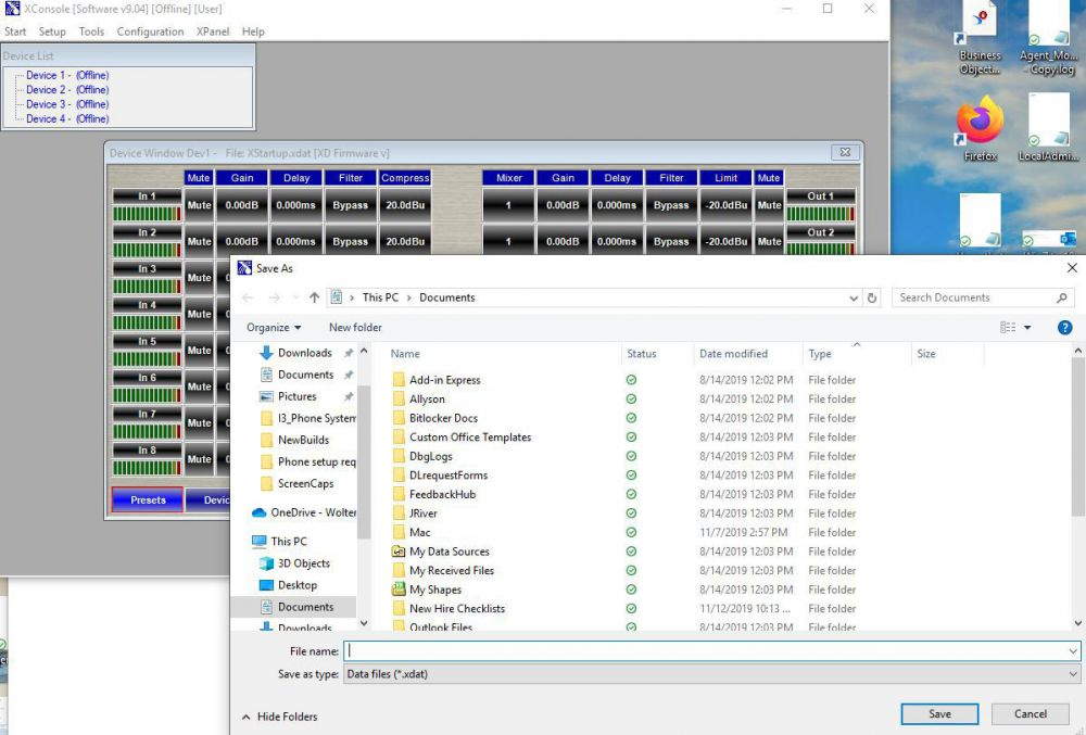 Xilica Xconsole saving settings to PC give name and location as xdat file.JPG