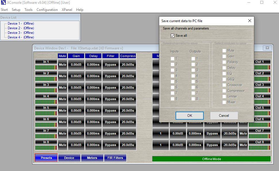 Xilica Xconsole saving settings to PC SaveAll.JPG
